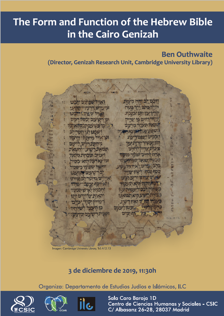 """The Form and Function of the Hebrew Bible in the Cairo Genizah"" Ben Outhwaite"