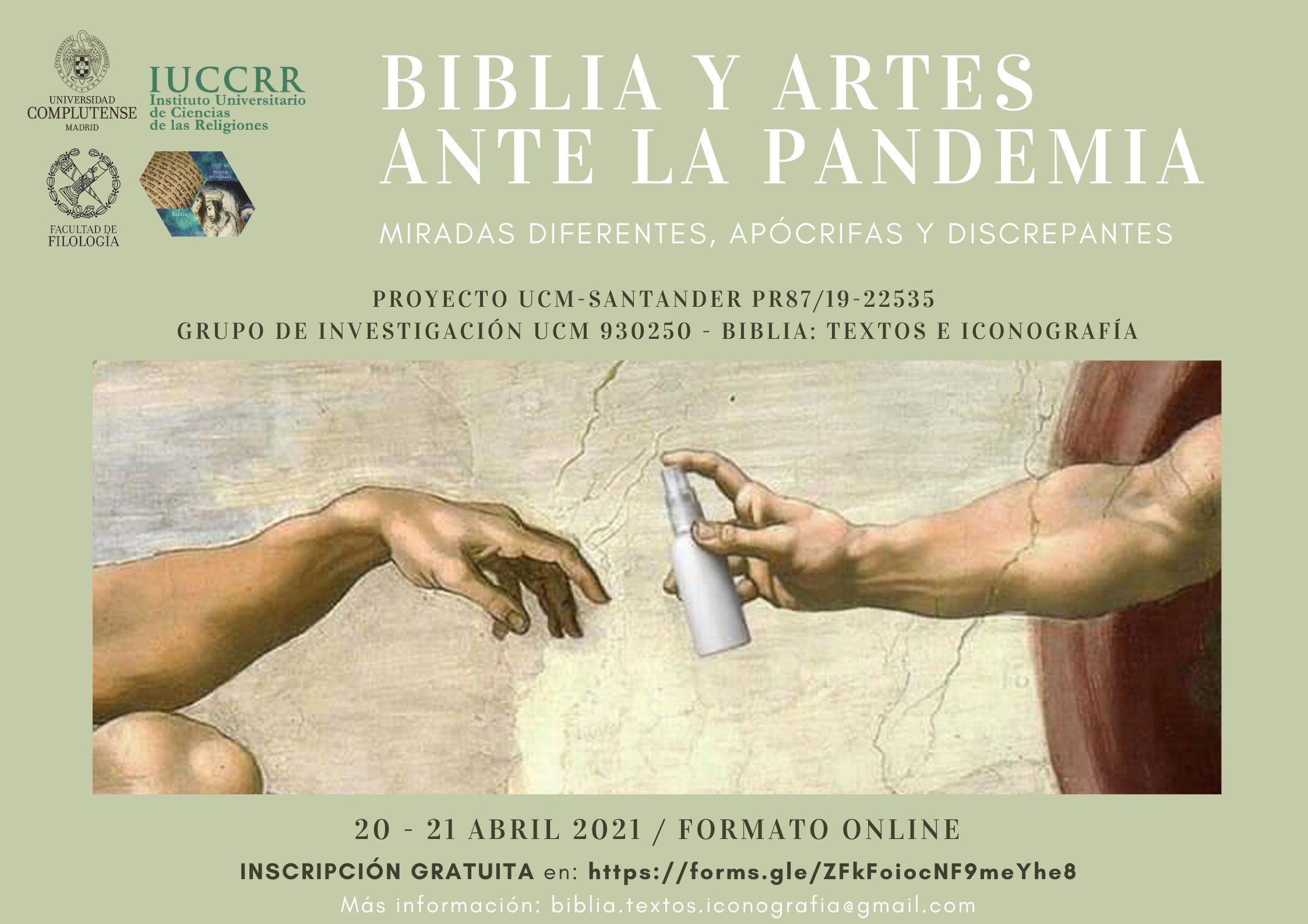 """Seminario """"Biblia y artes ante la pandemia: miradas diferentes, apócrifas y discrepantes"""""""